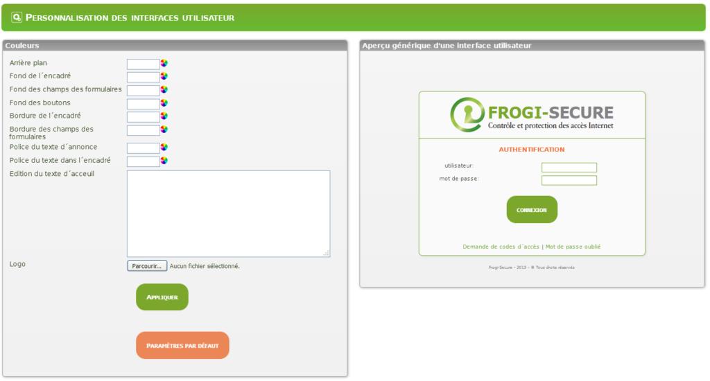 Personnalisation Interfaces Utilisateurs Chartre Graphique Couleurs Frogi Secure